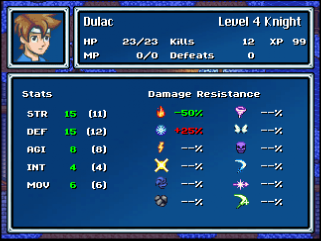 Ballad of Thuriana - stats screen